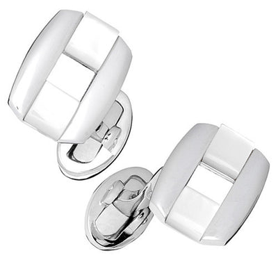 Mother Of Pearl Rectangular Buckle Cufflinks by Jan Leslie