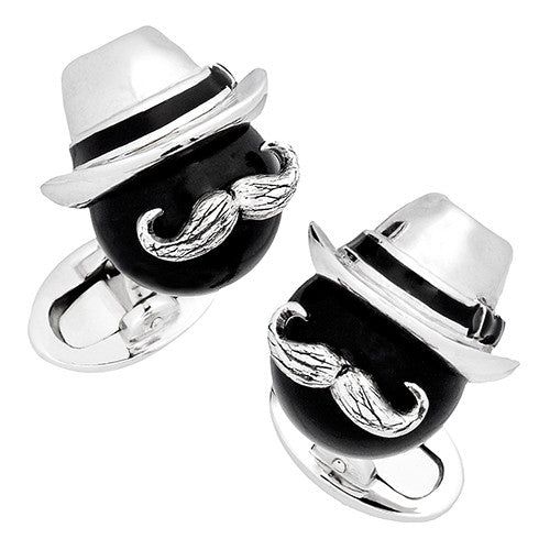 Black Onyx Bead Cufflinks with Fedora and Mustache by Jan Leslie