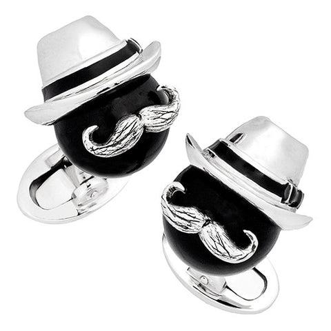 Black Onyx Bead Cufflinks with Fedora and Mustache