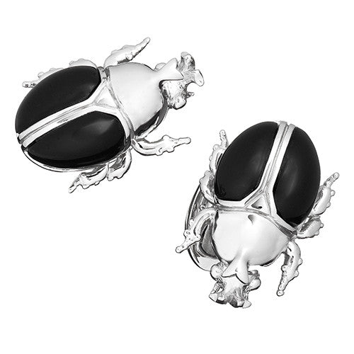 Onyx Horn Beetle Cufflinks by Jan Leslie