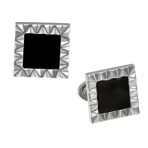 Black Onyx and Sterling Silver Wave Pattern Frame Cufflinks by Jan Leslie