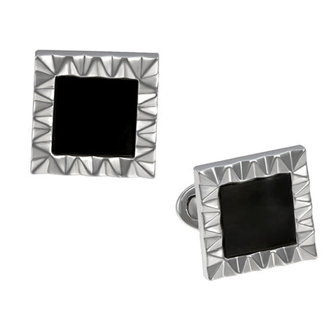 Wave Frame Cufflinks with Gemstone Inlay
