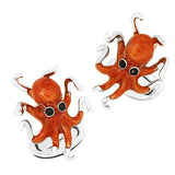 Enamel Octopus Cufflinks in Orange by Jan Leslie