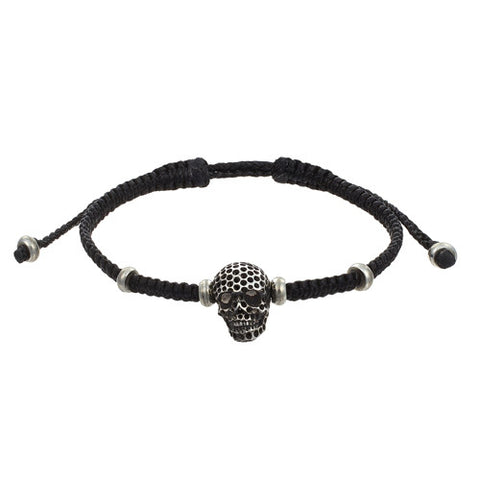 Oxidized Brass Men's Skull Bracelet