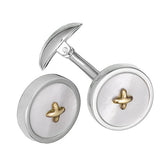 Mother of Pearl Gemstone Button Cufflinks with 24K Gold Thread by Jan Leslie