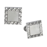 Mother of Pearl and Sterling Silver Wave Pattern Frame Cufflinks by Jan Leslie