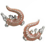 Pink Enamel Crocodile Cufflinks by Jan Leslie