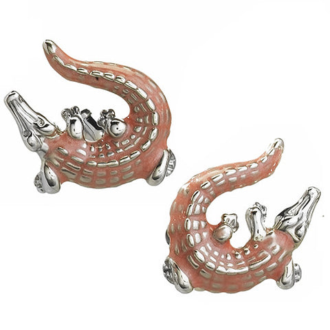 Enamel Crocodile Cufflinks in Orange, Red or Pink