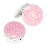 Pink Rope Pattern English Enamel Cufflinks by Jan Leslie
