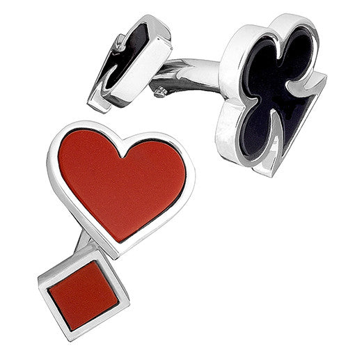 Gemstone Card Suite Cufflinks - Front View