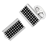 Antiqued Silver Grid Rectangle Cufflinks by Jan Leslie