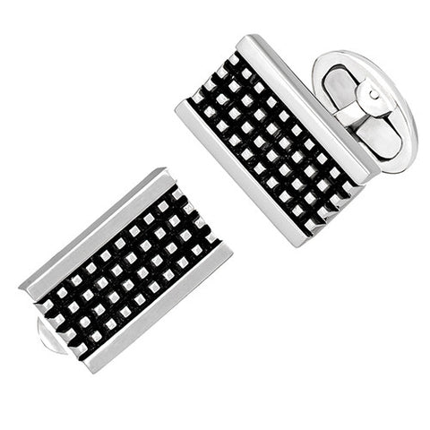 Antiqued Silver Grid Rectangle Cufflinks
