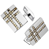 Rectangular Plaid Cufflinks with Marcasite by Jan Leslie