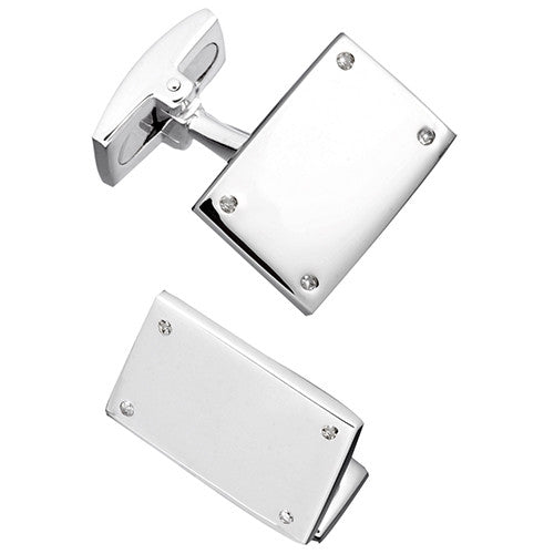Sterling Silver Rectangular Screw Cufflinks by Jan Leslie