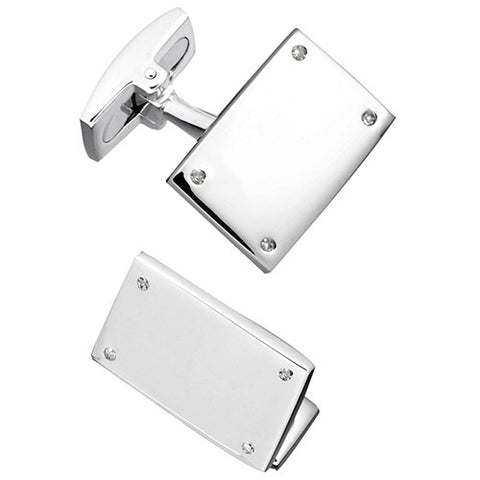 Rectangular Screw Engravable Cufflinks