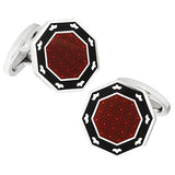 Red and Black Octagon Button Cufflinks by Jan Leslie