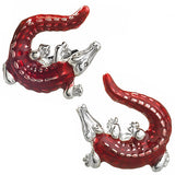 Red Enamel Crocodile Cufflinks by Jan Leslie