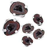 Drusy Crystallized Gemstone Cufflinks and Studs - Red