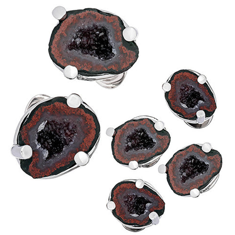 Drusy Crystallized Gemstone Tuxedo Formal Sets - Cufflinks and Studs
