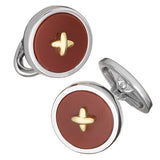 Red Agate Gemstone Button Cufflinks with 24K Gold Thread by Jan Leslie