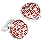 Red Button Grid Patterned English Enamel Cufflinks by Jan Leslie