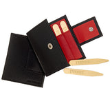 Brass Collar Stays Gift Pack: Insert Collar Stays with Red Leather Case