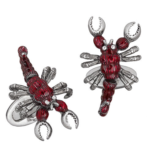 Red Scorpion Enamel Cufflinks by Jan Leslie