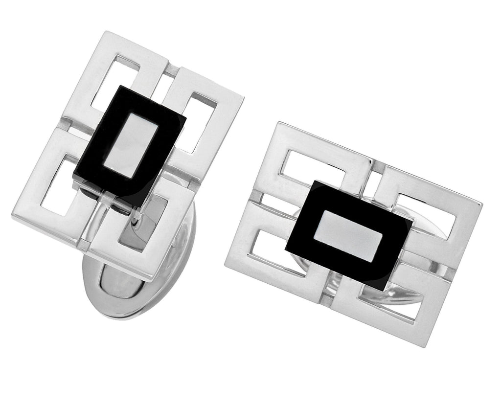 Four Pane Rectangular Cufflinks with Gemstone Centers by Jan Leslie
