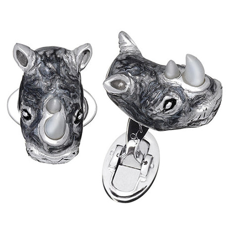 Grey Rhino Cufflinks with Mother of Pearl Tusks - Jan Leslie Cufflinks and Accessories