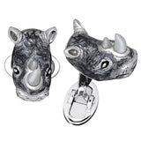 Grey Rhino Cufflinks with Mother of Pearl Tusks by Jan Leslie