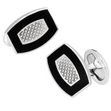 Rounded Rectangle Cufflinks with Thatched Center Pattern by Jan Leslie