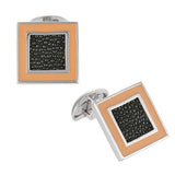 Square Enamel Cufflinks with Stingray Shagreen by Jan Leslie