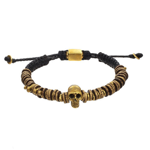 Brass Men's Bracelet With Skull