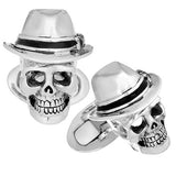 Skull and Fedora Cufflinks by Jan Leslie