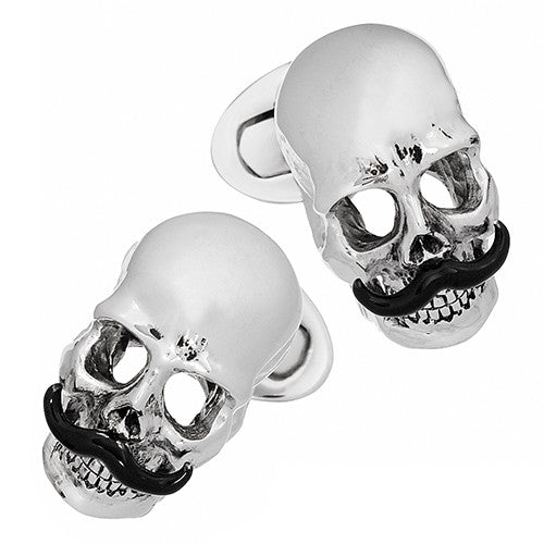 Skull Cufflinks with Black Handlebar Mustache by Jan Leslie