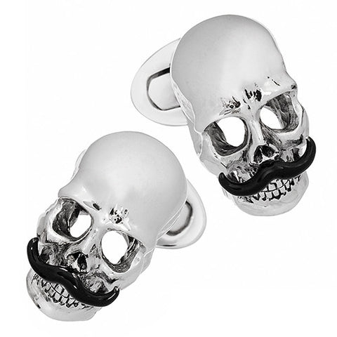 Skull Cufflinks with Black Handlebar Mustache