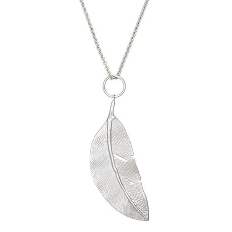 Sterling Silver Feathered Leaf Necklace by Jan Leslie