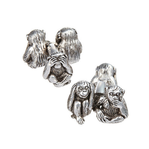 See No Evil, Hear No Evil, Speak No Evil Monkey Cufflinks
