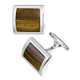 Tigers Eye Curved Square Gemstone Cufflinks by Jan Leslie