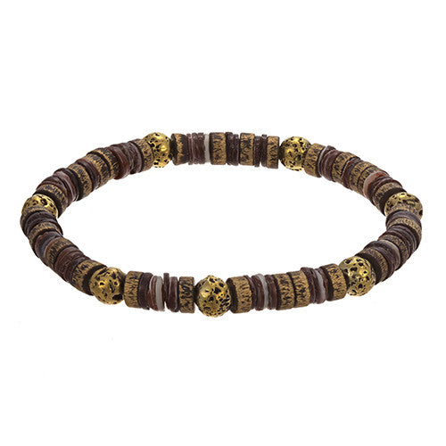 Brass, Shell and Lava Rock Bracelet by Jan Leslie