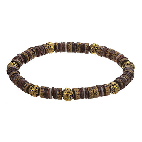 Brass, Shell and Lava Rock Bracelet