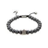 Beaded Pave Turtle Bracelet in Grey Hematite by Jan Leslie
