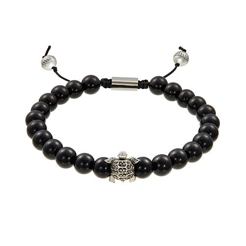 Beaded Pave Turtle Bracelet in Black Onyx by Jan Leslie