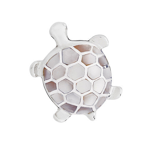 Mother-of-Pearl Turtle Lapel Pin by Jan Leslie
