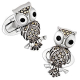 Vintage-Inspired Gemstone Owl Cufflinks by Jan Leslie