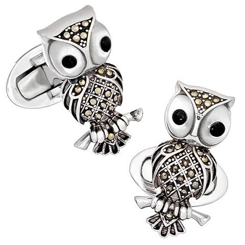Vintage-Inspired Gemstone Owl Cufflinks