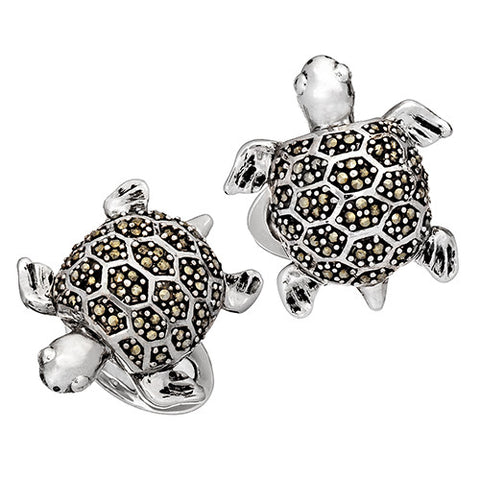 Vintage Inspired Turtle Cufflinks with Marcasite Accents