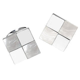 Silver and White Gemstone Checkered Cufflinks