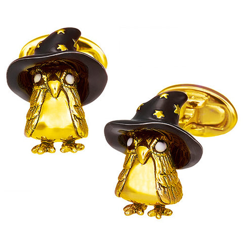 Magic Owl with Starry Wizard Hat Cufflinks
