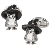 Magic Owl with Starry Wizard Hat Cufflinks in Sterling Silver by Jan Leslie
